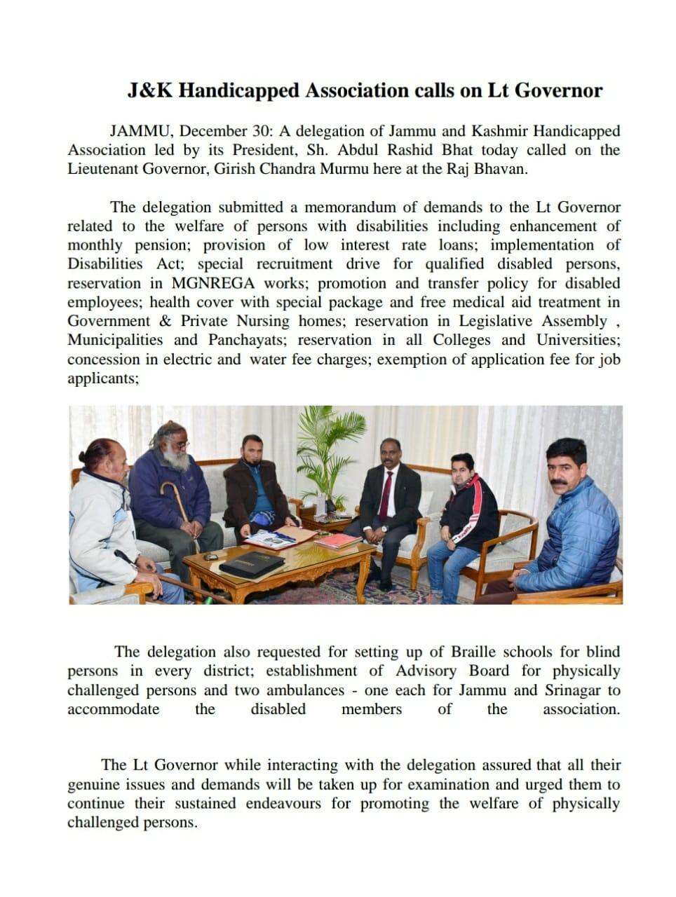 News Cutting of JK handicapped Association