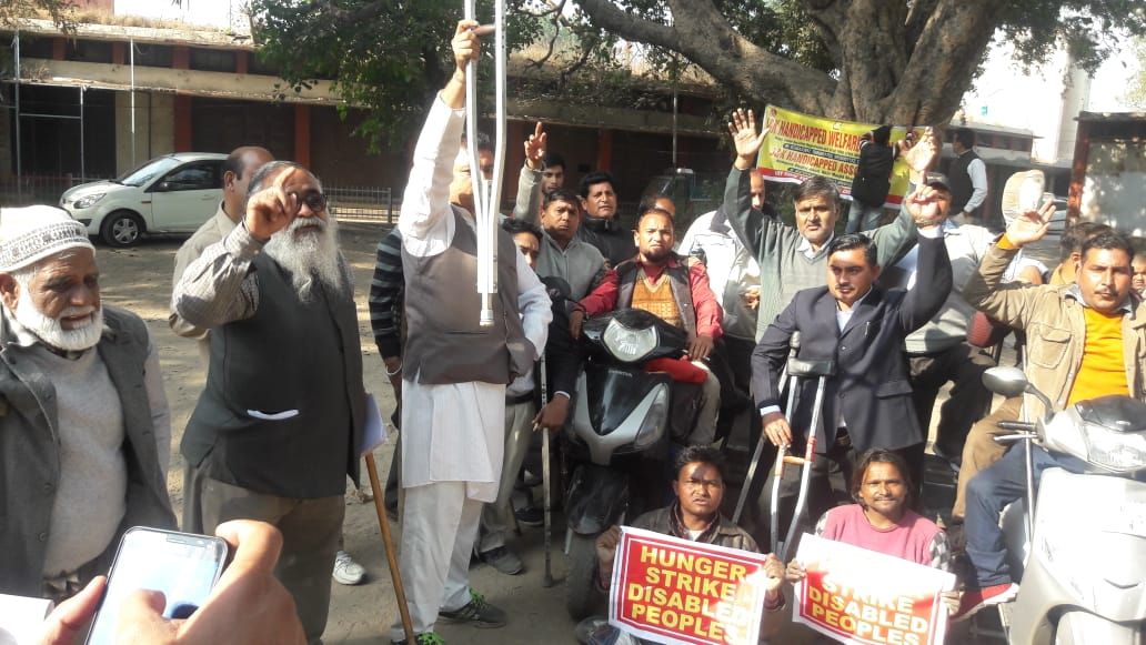 Protest against rights of Disabled persons by Handicapped Association Srinagar